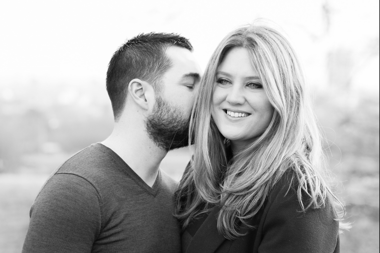 Natural relaxed couple portrait on Hampstead Heath London