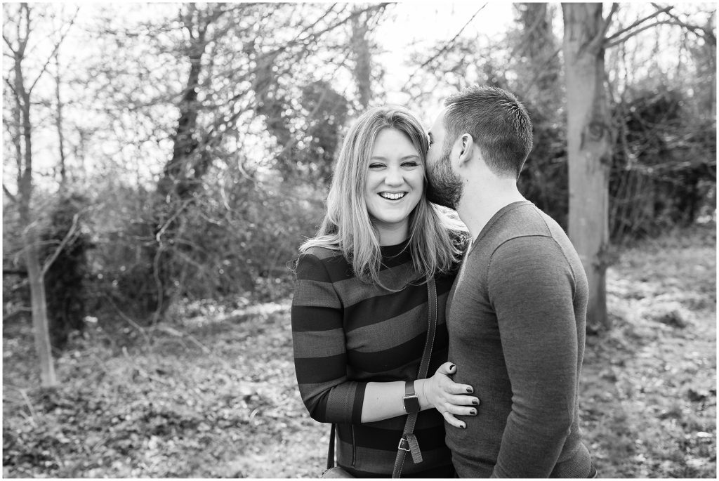 Natural wedding photography London engagement session with happy couple