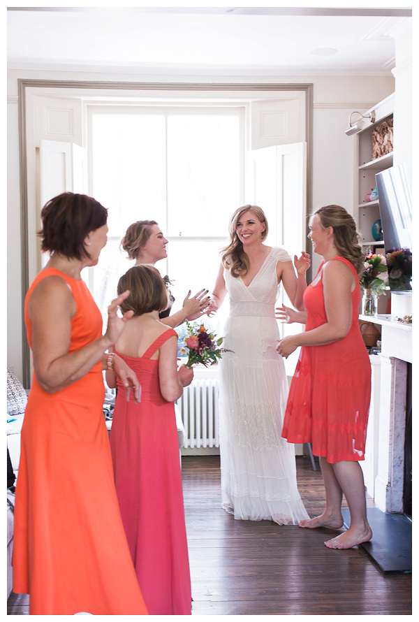 Bridal party getting ready a