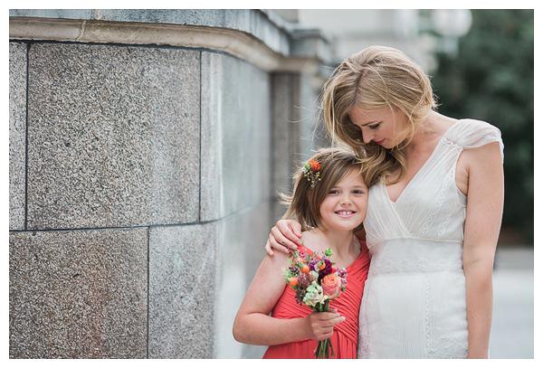 Bride hugging flower girl