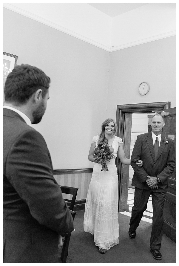 bride and groom getting married at Islington town hall, London