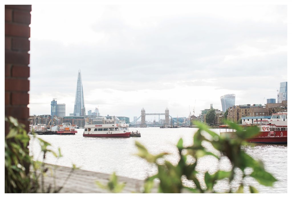 View of London from the Thames Path in Rotherhithe