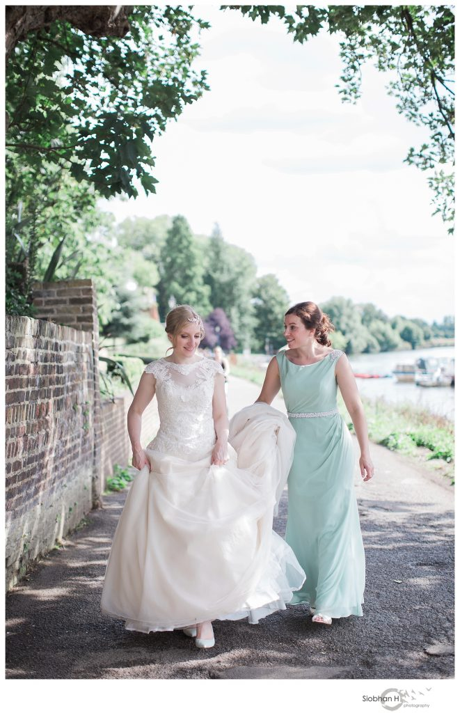 Bride and sister at Bingham hotel Richmond wedding