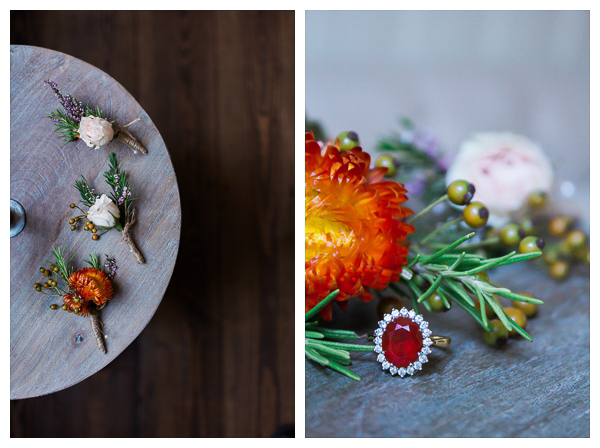 wedding details with boutonierres, bouquet and ring