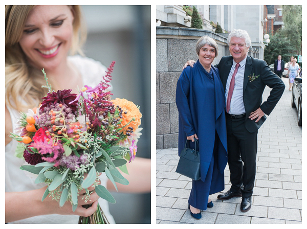 bride with bouquet and groom's parents