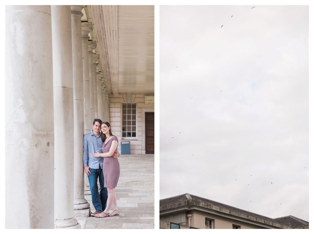engaged couple photography at National Maritime museum in Greenwich London