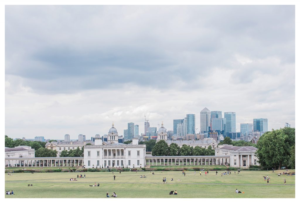 London skyline view from Greenwich Park