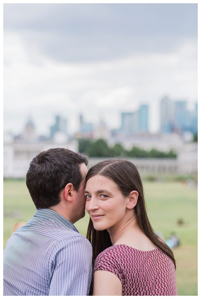 Engaged couple in Greenwich London