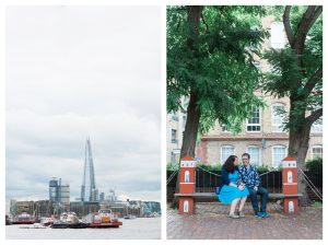 Engaged couple outside Brunel Museum in Rotherhithe