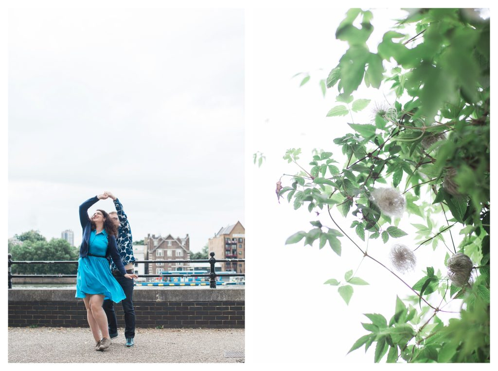 Engaged couple dancing on London riverside