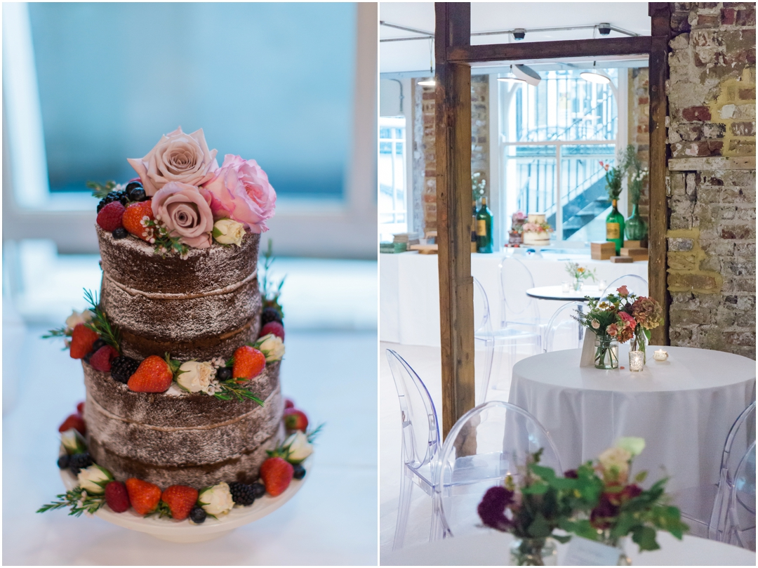 modern wedding cake and venue in Islington