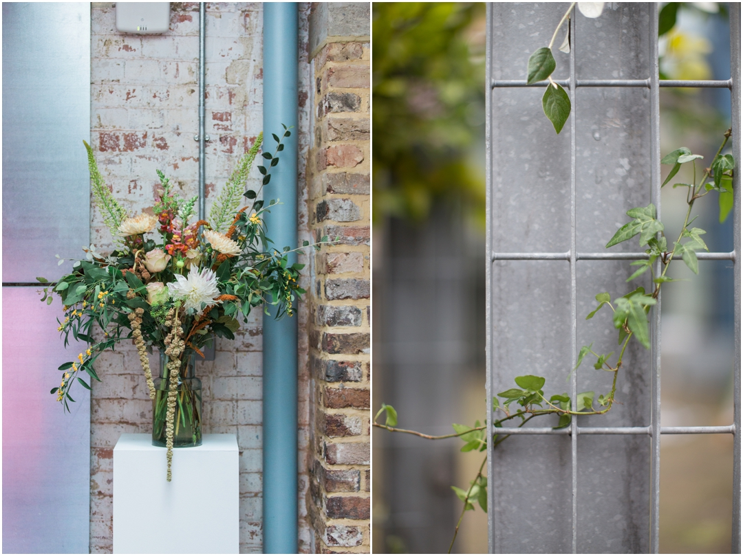 Modern floral design for wedding venue
