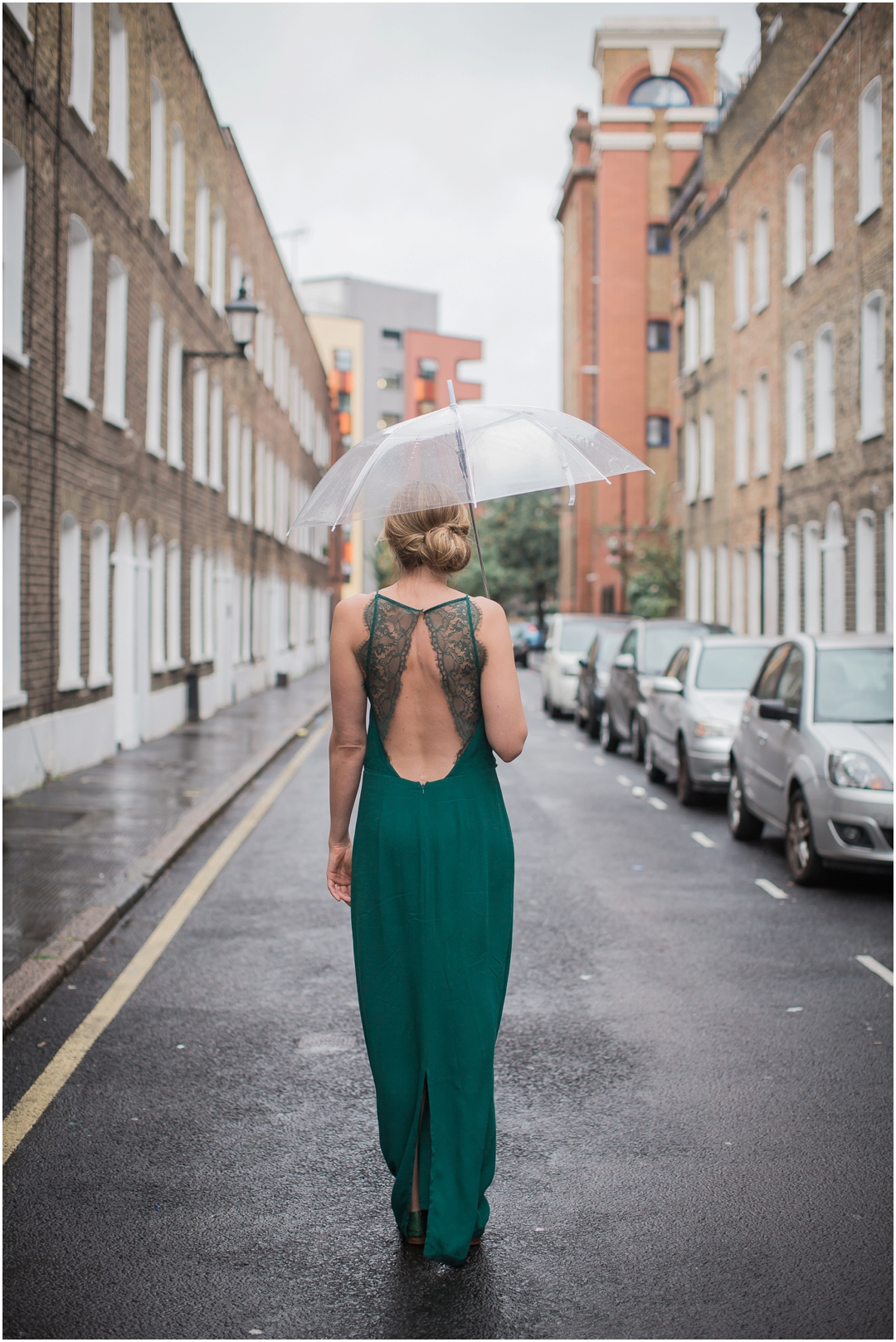 modern rainy day bridal portrait
