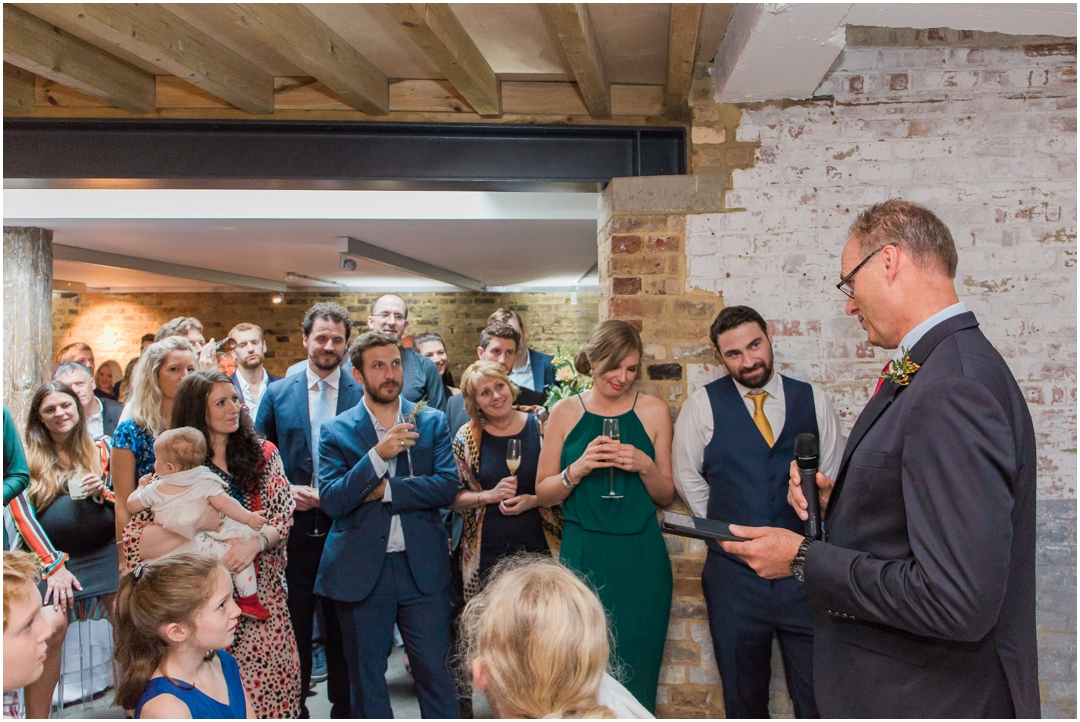 Guests attending a modern Islington wedding