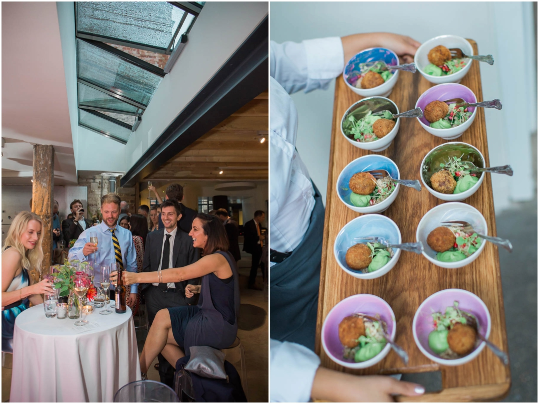 Guests attending a modern Islington wedding with bowl food