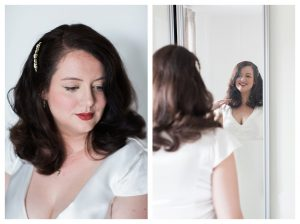 Bride getting ready for wedding in London UK