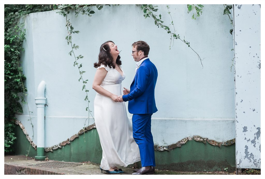 Bride and groom portraits at the Brunel Museum Rotherhithe London