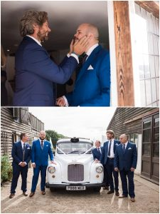 Groom and groomsmen preparing for wedding day at the Yoghurt Rooms East Grinstead
