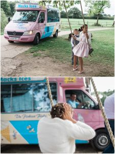 Wedding guests and icecream vanat Yoghurt Rooms wedding venue