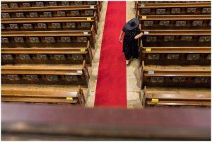 Mother of grooom preparing in St Swithun's church