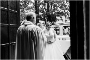 Nervous bride arriving at church