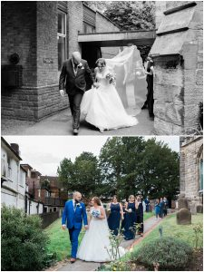 Couple just married at St Swithun's church in East Grinstead