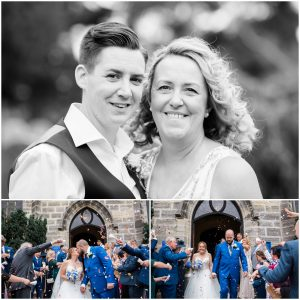 Couple in confetti shower at St Swithun's church in East Grinstead