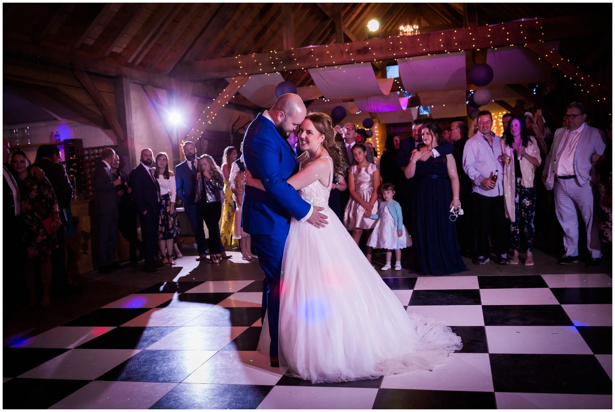 Bride and Groom dancing at the Yoghurt Rooms in East Grinstead