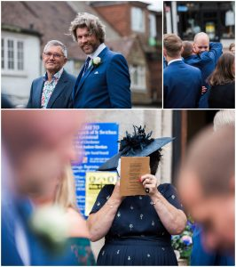 wedding guests at St. Swithun's church in East Grinstead