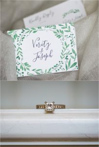 Wedding details invitation and engagement ring