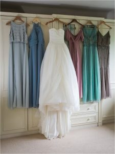 Wedding dress and bridesmaids dresses in pastel colours