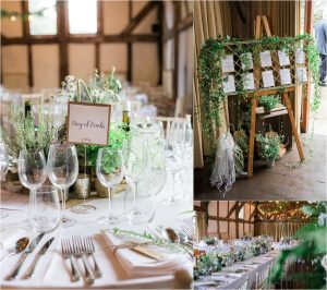 Loseley Park tithe barn wedding reception decoration