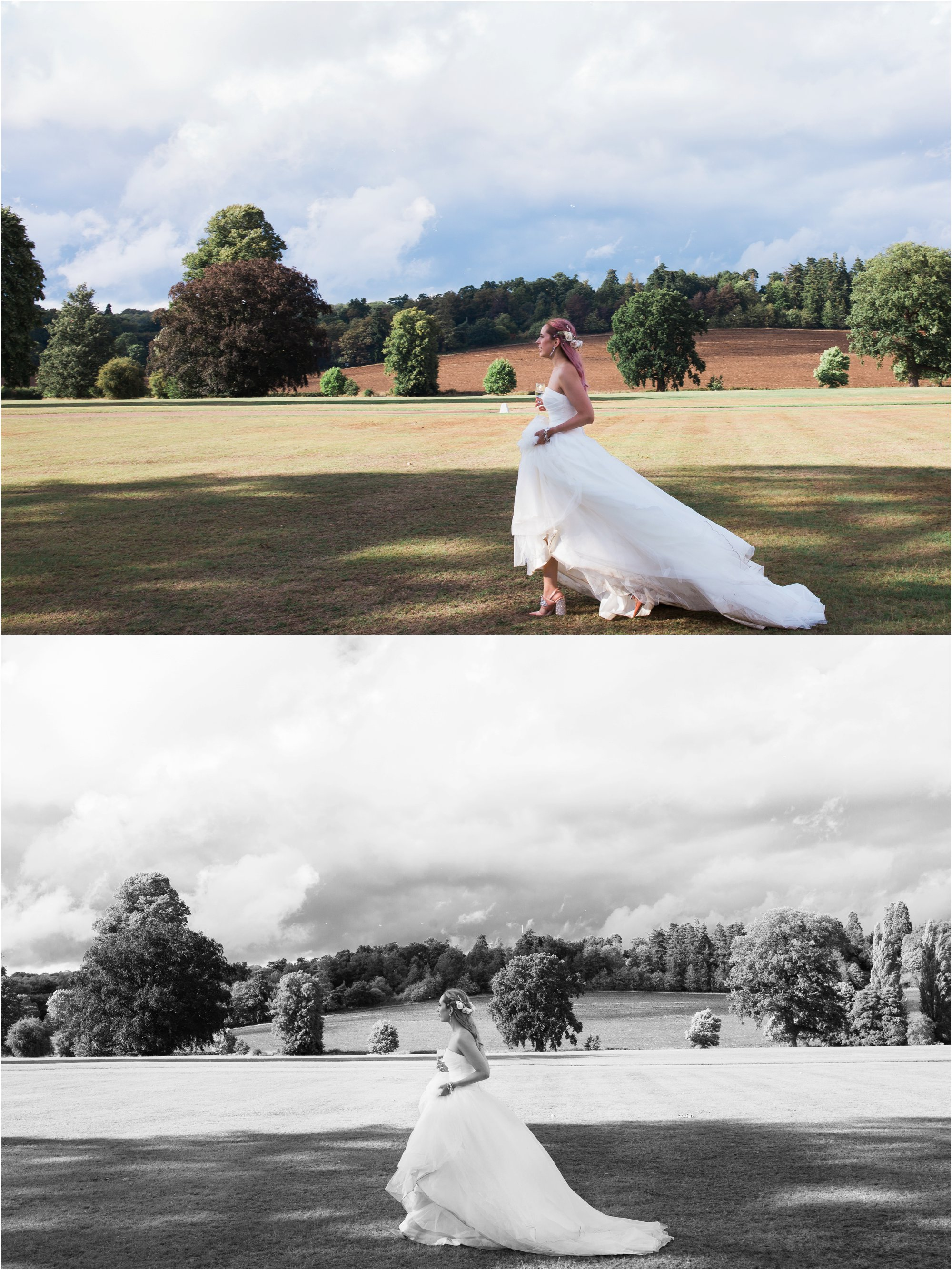 beautiful bride with pink hair and Vera Wang bridal gown