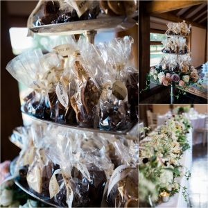 Loseley Park wedding reception with favours
