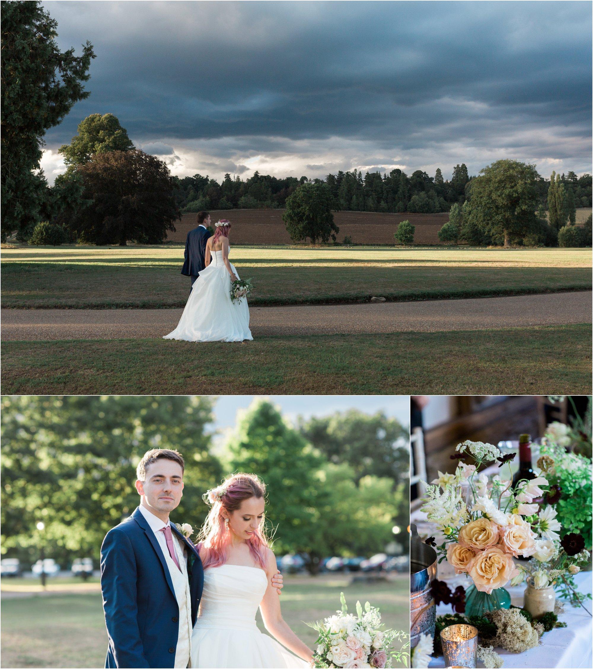 Bride and groom at Loseley Park Surrey wedding
