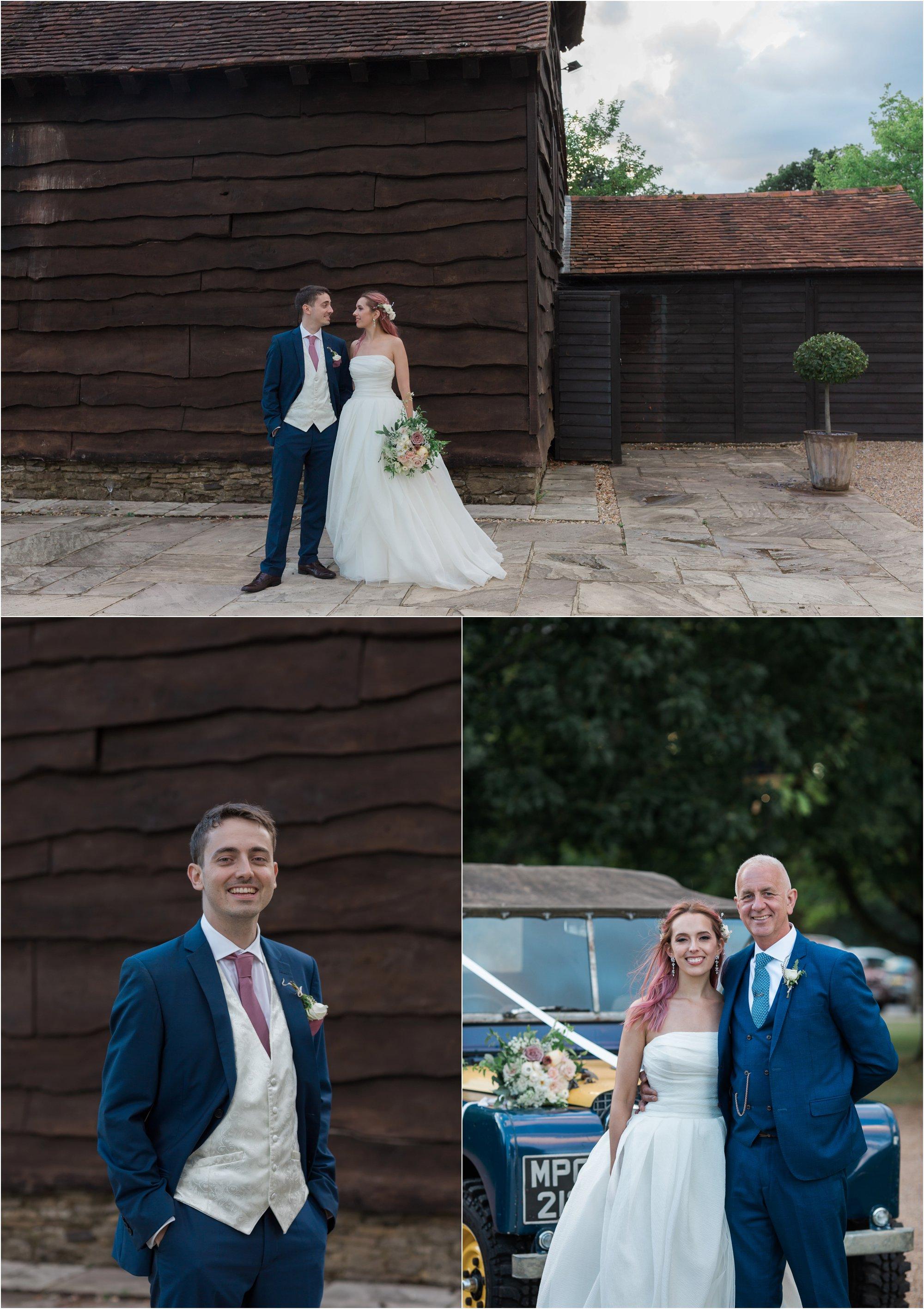 Bride and groom, and bride's dad at Loseley Park Surrey wedding