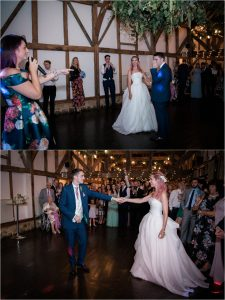 Bride and groom dancing at Loseley Park Surrey wedding