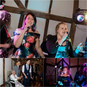 Singing and dancing at Loseley Park wedding