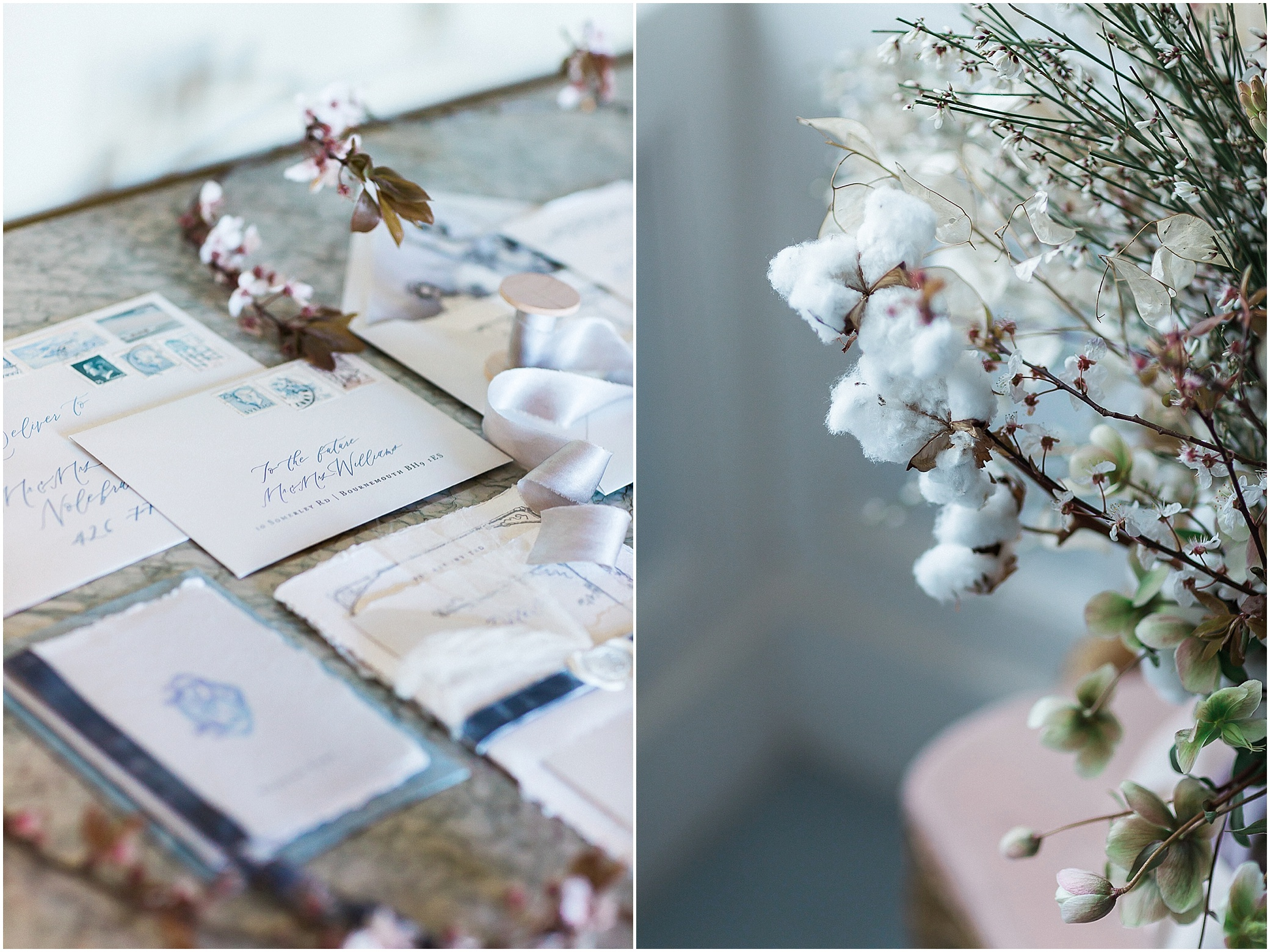 wedding stationery and cotton flowers