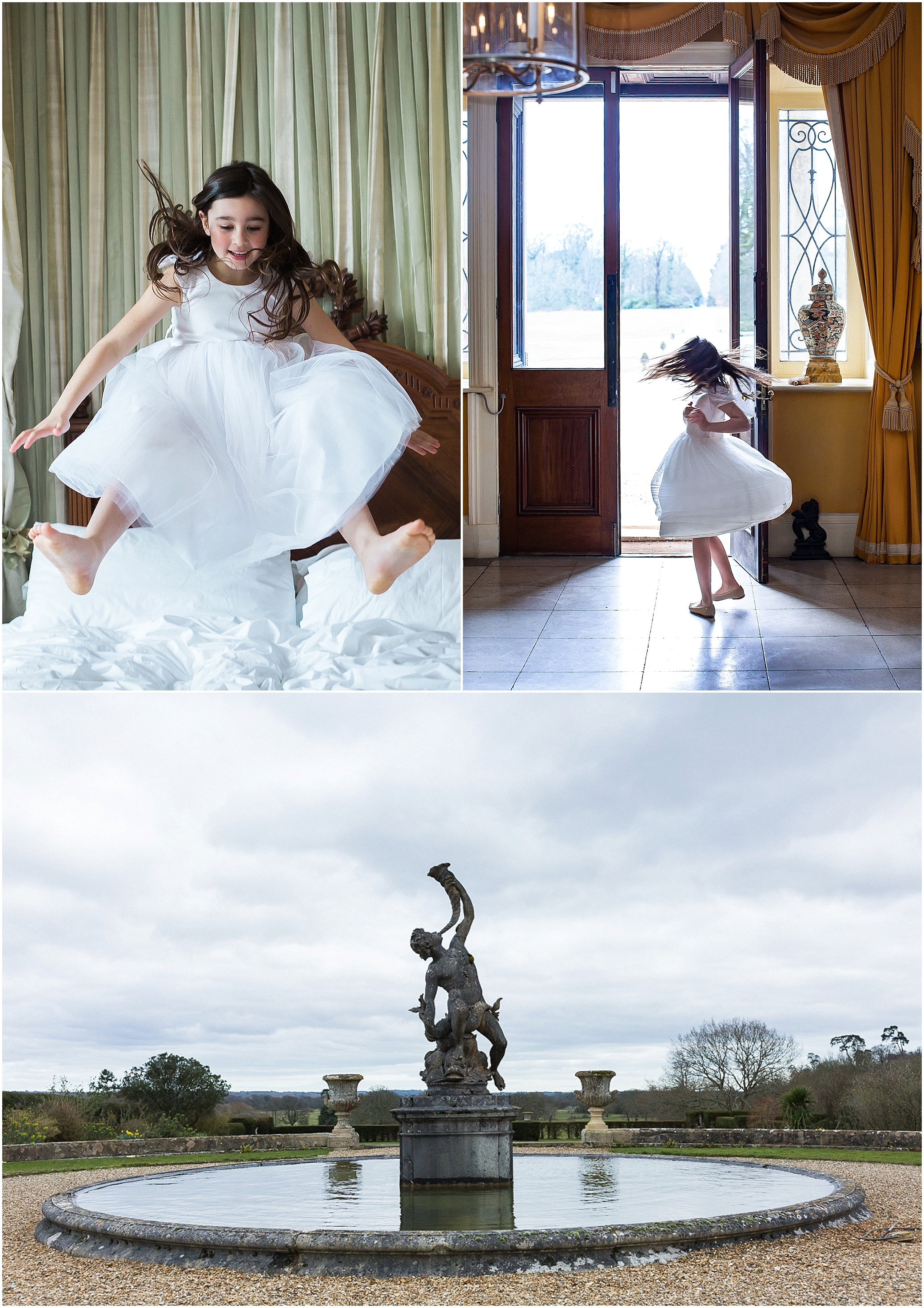 Flower girl jumping on bed, dancing and statue outside Somerley House