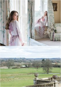 Bride in robes at Somerley House Hampshire