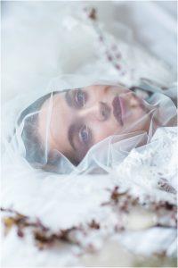 Model bride wearing veil over face