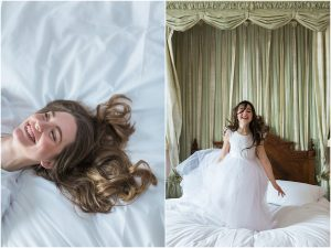 Bride laughing on bed and girl jumping on bed