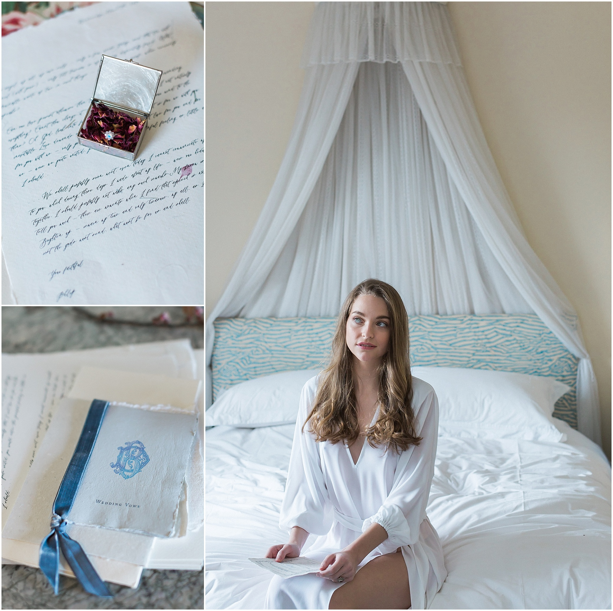 Handwritten letter and stationery read by bride on bed