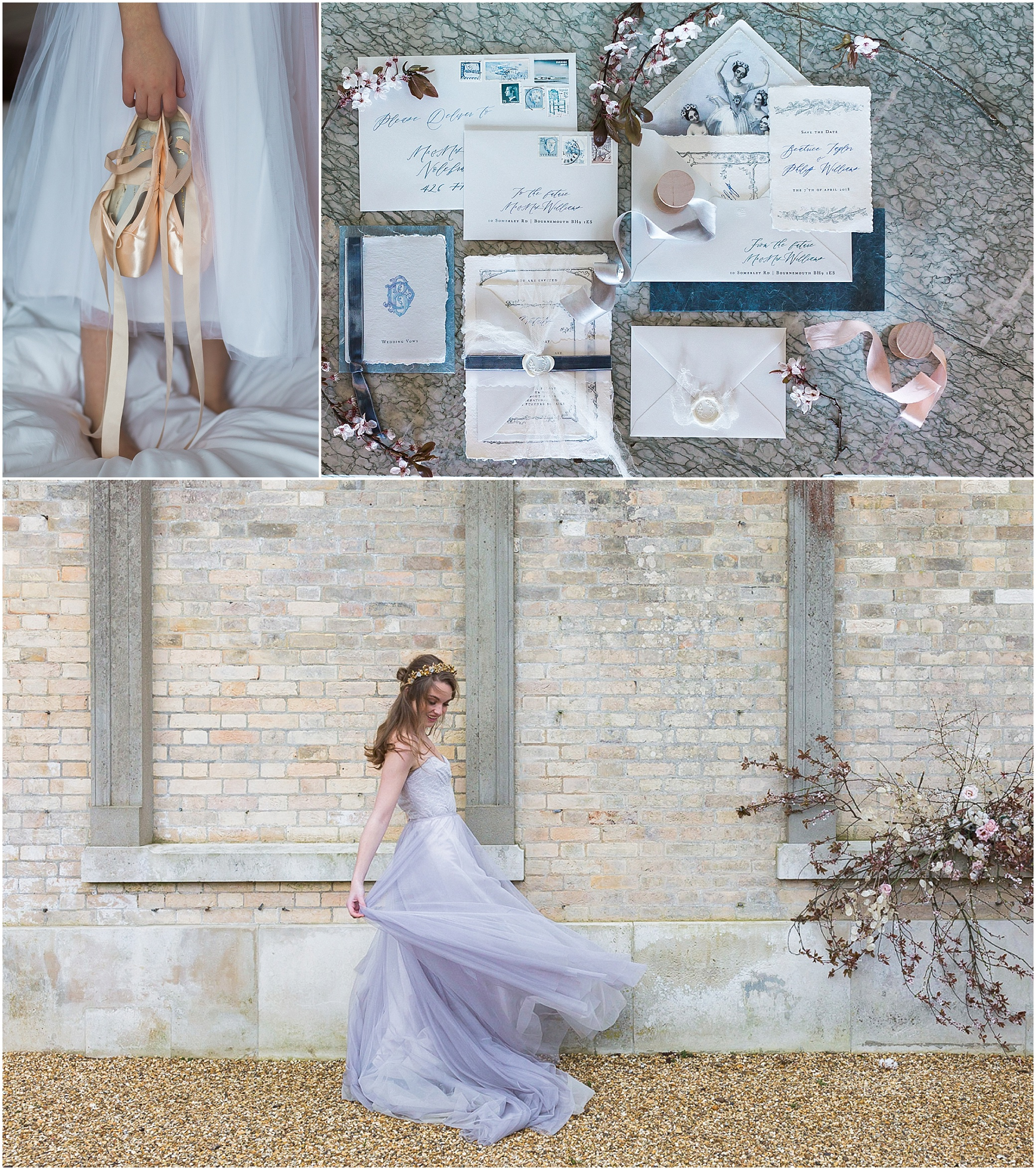 ballet shoes, invitation suite and bride dancing outside Somerley House in Hampshire