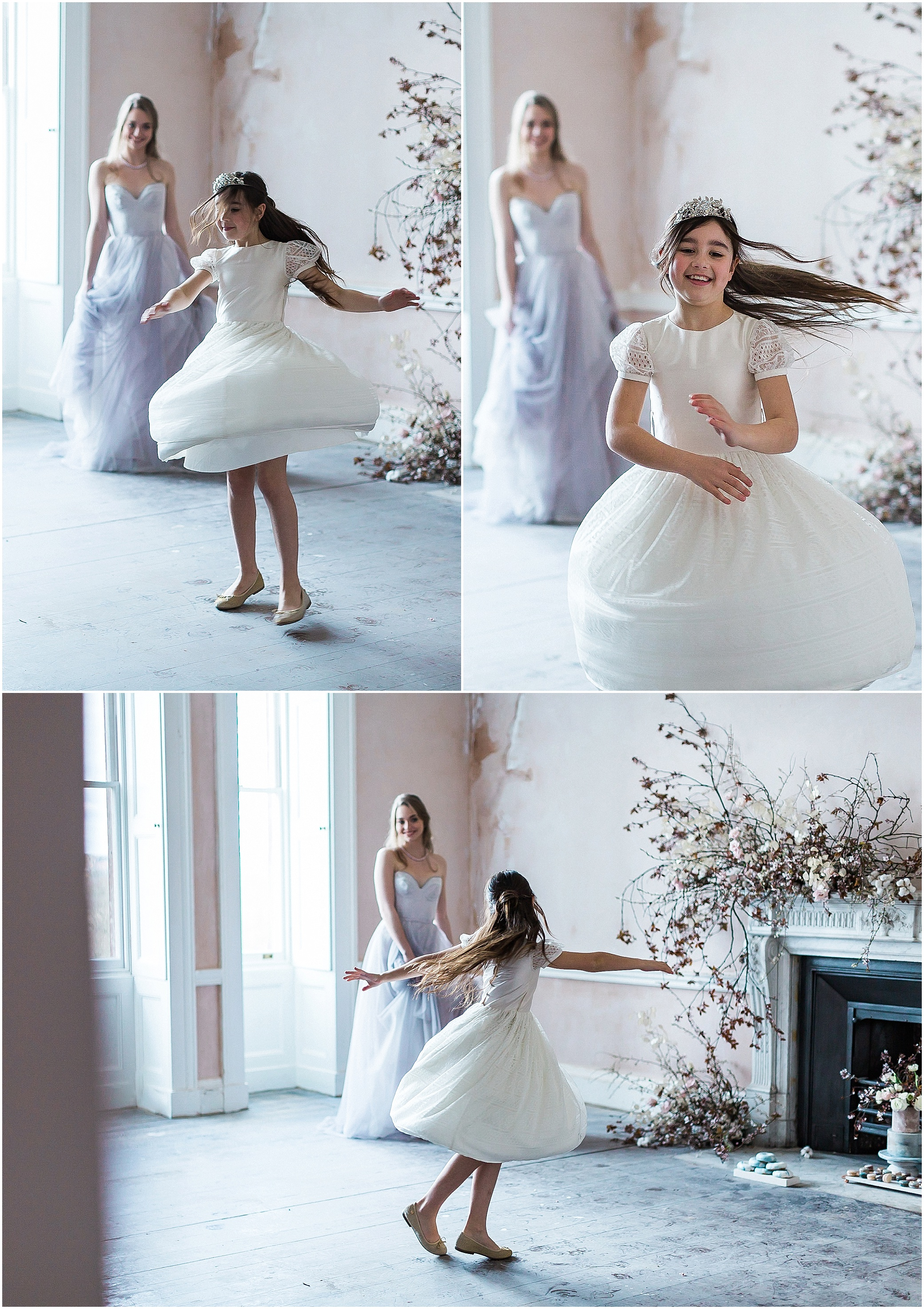 Bride and flower girl dancing at Somerley House wedding venue in Hampshire