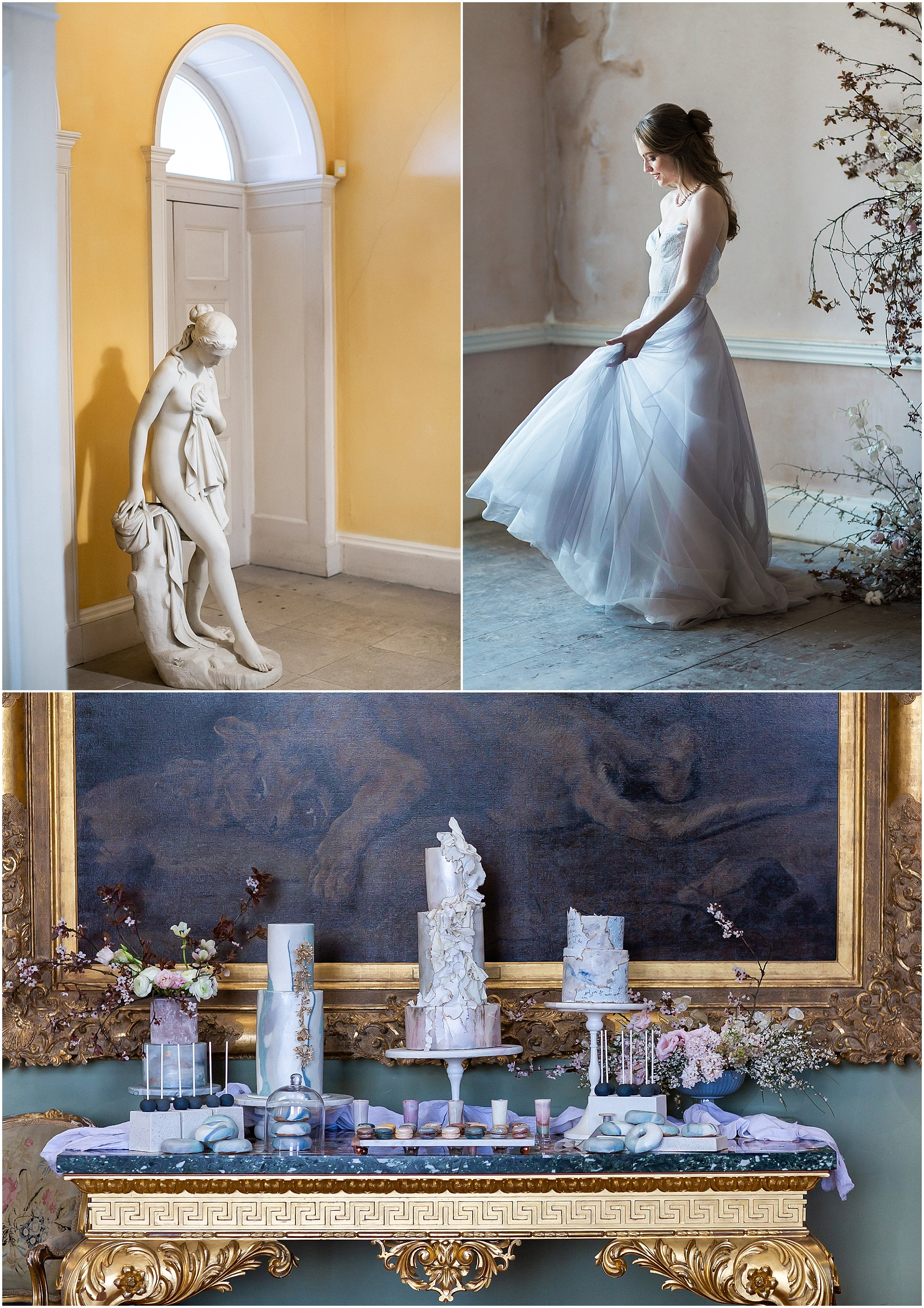 Statue, bride dancing and dessert table in Somerley House Hampshire