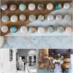 Colourful macaroons, bride walking and floral cake at Somerley House