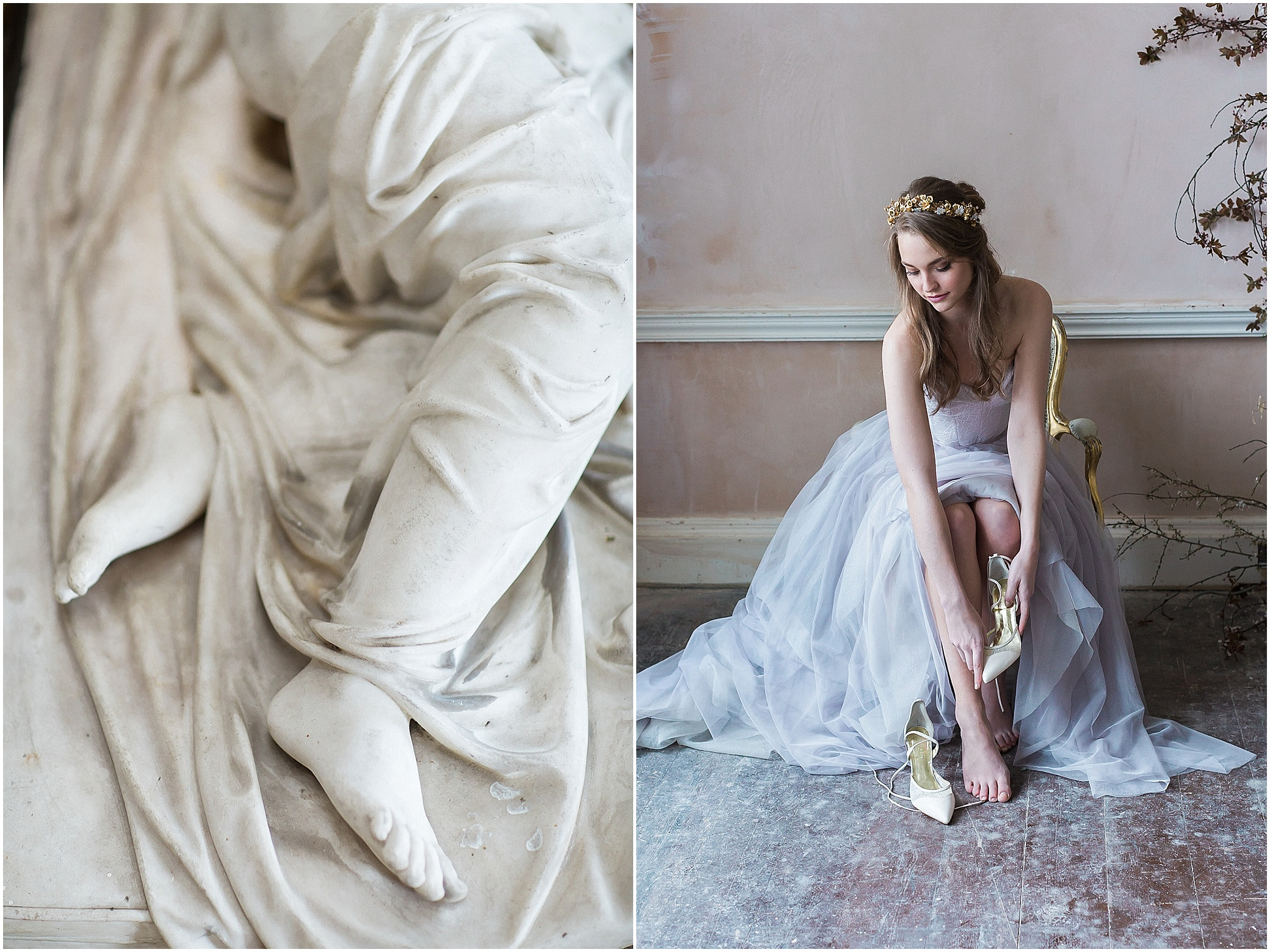 statue detail and bride putting on shoes