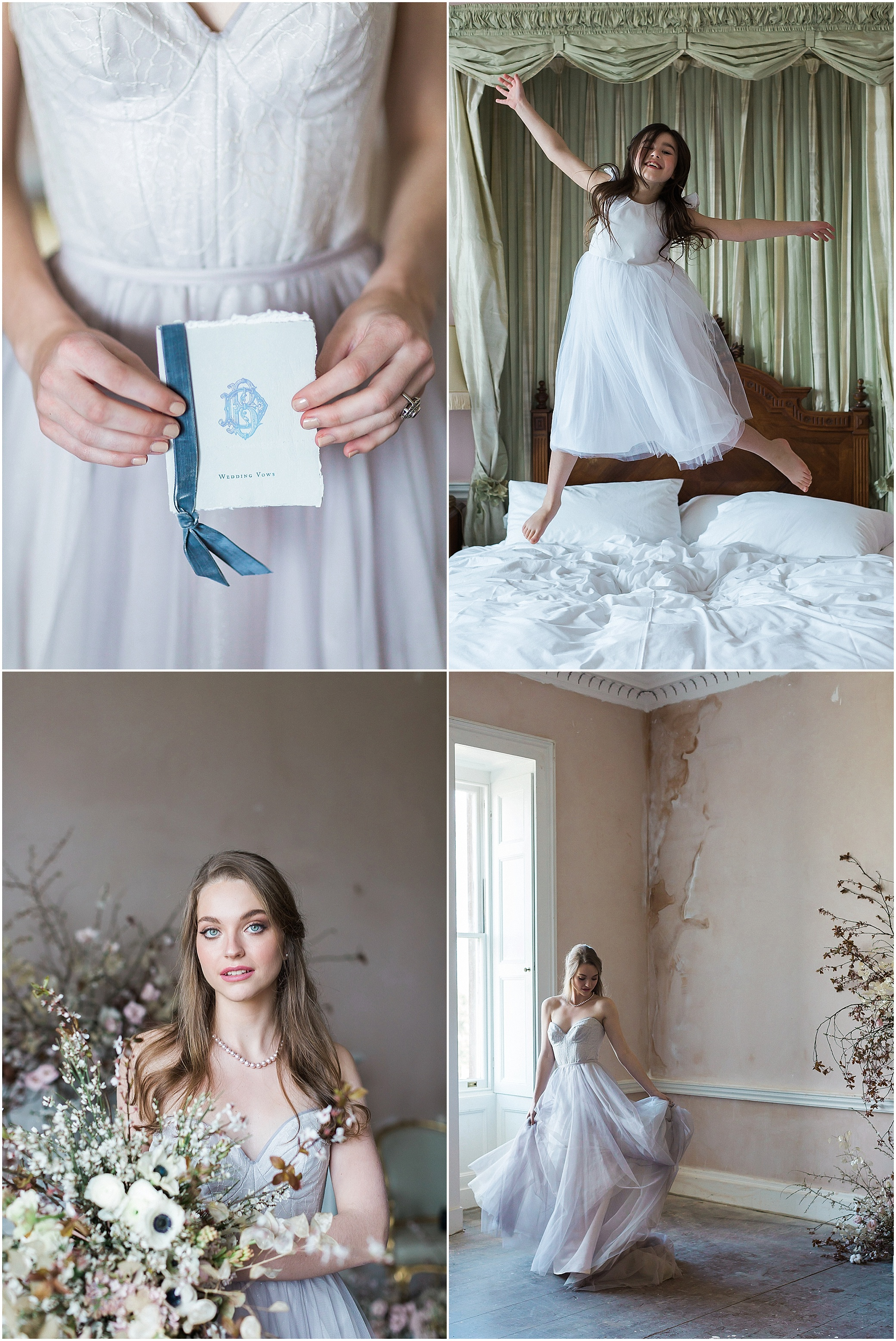 Beautiful bride, flower girl, stationery and florals at Somerley House in Hampshire